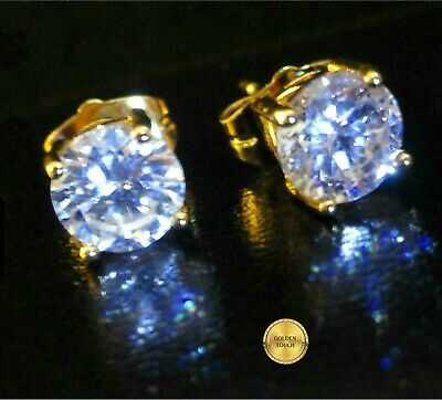 Men's Round 7mm Simulated Diamond 18K Yellow Gold Filled Stud Earrings /UK