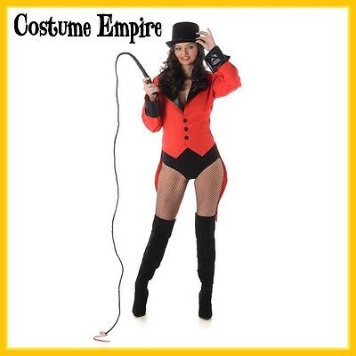 Ladies Red Ringmaster Circus Halloween Fancy Dress Costume Jacket. Size S - L