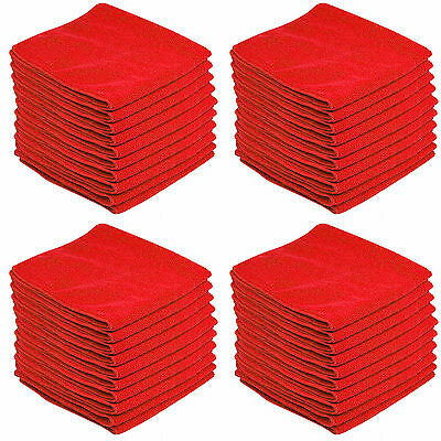 60 x RED CAR CLEANING DETAILING MICROFIBER SOFT POLISH CLOTHS TOWELS LINT FREE