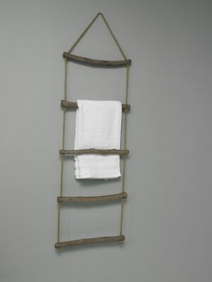 Wooden rope ladder towel rail shabby vintage chic bathroom kitchen hanging home