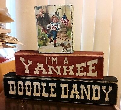 Primitive Shelf Blocks Happy 4th of July I'm a Yankee Doodle Dandy Patriotic