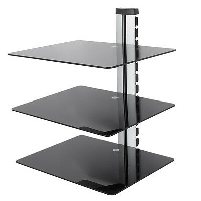 Floating TV Shelf Mounted Wall Shelves Glass LCD LED TV x 3 DVD, Sky, Freeview