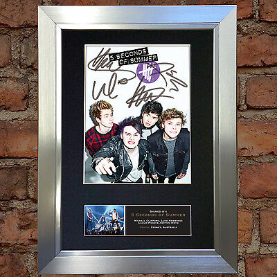 5 SECONDS OF SUMMER Signed Autograph Mounted Photo Reproduction A4 Print 525