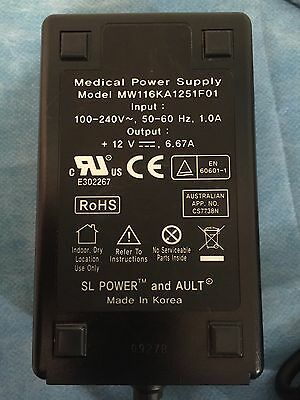 Medical Power Supply 4 pin model MW116KA1251F01 in 100-240V 1A  out 12V 6.67A