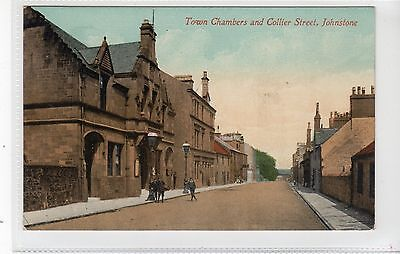 TOWN CHAMBERS AND COLLIER STREET, JOHNSTONE: Renfrewshire postcard (C19275)