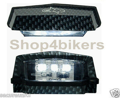 Motorcycle scooter custom led number plate light compact carbon look tail light
