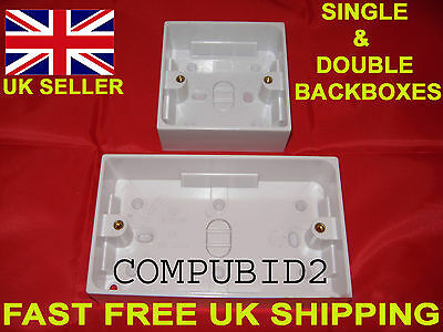 Brand New Single 1 Or Double 2 Gang 32Mm White Socket Pattress Surface Back Box
