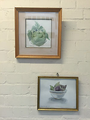 Two Framed Still Life Watercolour Paintings Of Vegetable / Figs - Vr