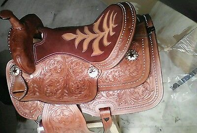 "16"" western tack trail pleasure show cowboy rodeo leather horse saddle"