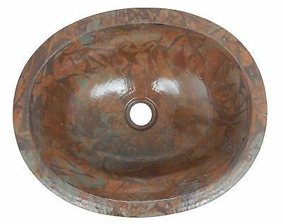 Mexican Copper Bathroom Sink Hand Hammered Oval Drop in  01