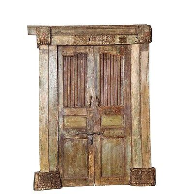 "82"" August Door with Frame  Carved Antique Architectural Vintage Solid Wood Hand"