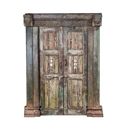 "83"" Jean Door and Frame  Carved Antique Architectural Vintage Solid Wood Hand Ma"