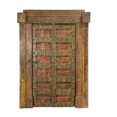 "84.5"" Gavin Door and Frame  Carved Antique Architectural Vintage Solid Wood Hand"