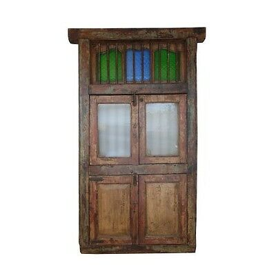 "72"" Rashida Concord Window  Carved Antique Architectural Vintage Solid Wood Hand"