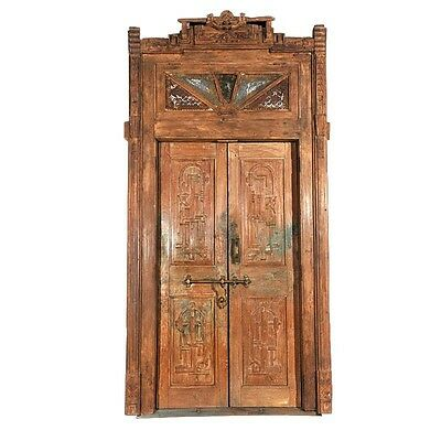 "55"" Maritza Old Door 55x8x110  Carved Antique Architectural Vintage Solid Wood H"