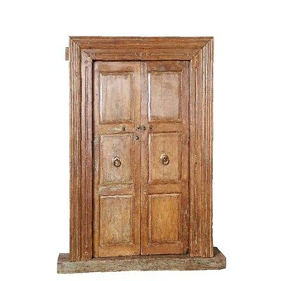 "82"" Pamila Door with Frame  Carved Antique Architectural Vintage Solid Wood Hand"