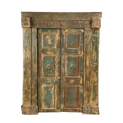 "85"" Delbert Door and Frame  Carved Antique Architectural Vintage Solid Wood Hand"