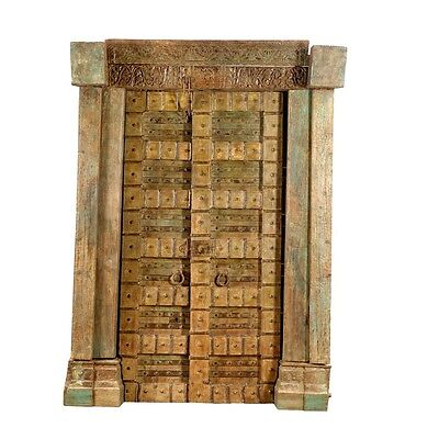 "87.5"" Bernadette Door and Frame  Carved Antique Architectural Vintage Solid Wood"