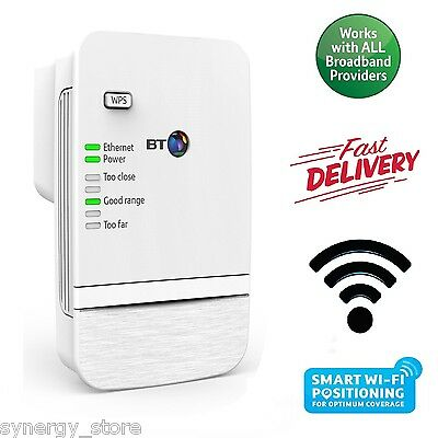 BT Wi-Fi SIGNAL BOOSTER 300Mbps Broadband Range Extender Increases Network Cover
