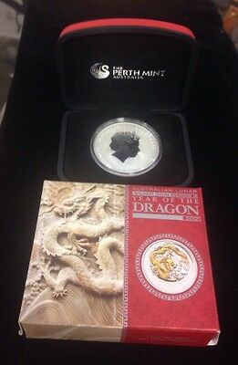 2012-P AUSTRALIAN LUNAR SER YEAR OF THE DRAGON 1oz 999 SILVER 2ND SER CASE/BOX