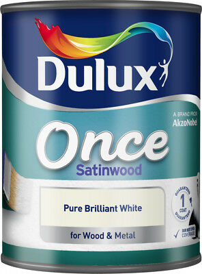 Dulux Once Satinwood Pure Brilliant White Interior Paint For Wood & Metal 750ml