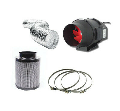 """Hydroponic Fox Carbon Filter 2 Speed Extractor Fan Kit 200mm 8"""" Inch Grow Set"""