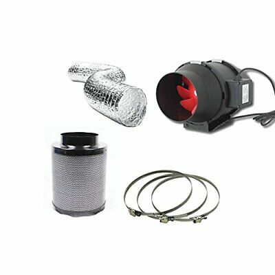 "Hydroponic Fox Carbon Filter Inline Extractor Fan Kit 125mm 5"" Grow Complete Set"