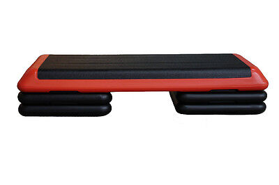 The Original Health Club Step (Red Black) Aerobic Riser Stepper Full Set