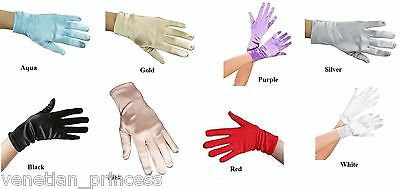 "USA SELLER 9"" Wrist Length Stretch Satin Gloves Wedding Bridal Prom Formal NEW!"