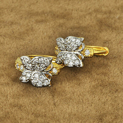Infant childrens butterfly safety hoop earrings crystal 14K Yellow gold filled