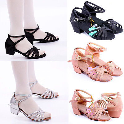 Women Children Child Girl Kids Ballroom Latin Tango Dance Shoes Heeled Salsa