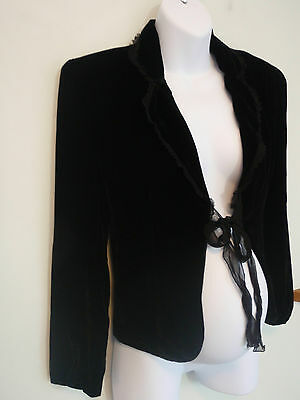 Size 10 ~ UP THE DUFF~ Black Velvet / Silk Tie Front Jacket ~ BNWT!