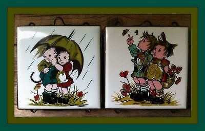Vintage Boy And Girl Ceramic Tiles In Wrought Iron Frames 4 x 4 Tiles