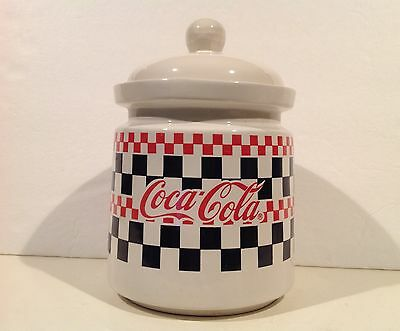 """Gibson Coca Cola Coke Advertising Canister Jar 9.5"""" Large Checkerboard"""