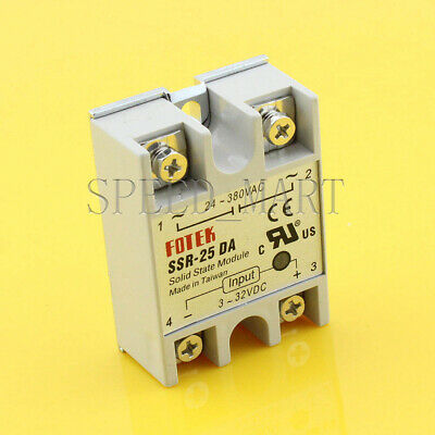 Solid State Relay DC-AC SSR-25DA 25A 3-32VDC To 24-380V AC Module Fast Switching