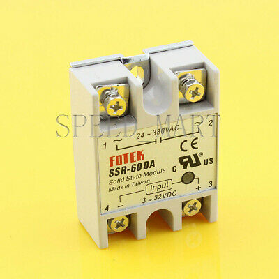Solid State Relay DC-AC SSR-60DA 60A 3-32VDC To 24-380V AC Module Fast Switching
