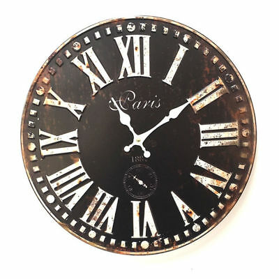 Wall Clock Paris Black White Metal Rustic Art Sculpture BIG 40cm
