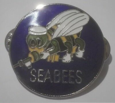 -- Pin Anstecker  Anstecknadel Button - SEABEES / USA - Kutte