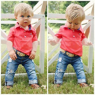 2pcs Newborn Toddler Kids Baby Boys Clothes T-shirt Tops+Denim Pants Outfits Set