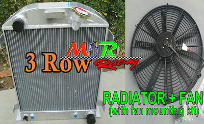FAN +3 ROW Aluminum Alloy Radiator for 1932 fit for FORD CHOPPED CHEVY ENGINE AT