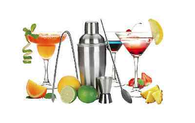 NEW COCKTAIL SHAKER SET Maker Mixer Martini Spirits Soda Spoon Jigger Ice Tong
