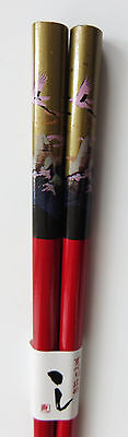 Chopsticks | 1 pair | Red lacquered Bamboo | Pink Crane design