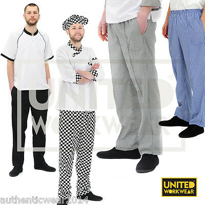 Unisex Chef Trousers Black / Chess Checked Chef Pants Elasticated Waist Uniform
