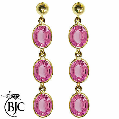 BJC® 9ct Yellow Gold Natural Pink Topaz Oval Triple Drop Dangling Studs Earrings