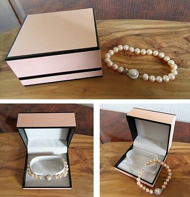 New peach pink real freshwater pearl bracelet with designer clasp in gift box