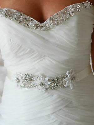 CeCe Flower Bridal Sash, Bridal Belt, Vintage, Wedding Dress Sash, Crystal Pearl