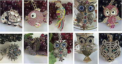 Animals Birds Crystal Keyring Charm Pendant  Purse Bag Key Ring Chain Gift