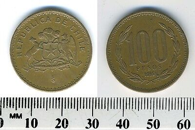 Chile 1995 - 100 Pesos Aluminum-Bronze Coin - Coat of arms