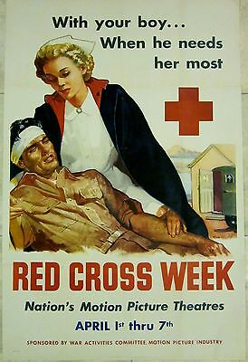 Cut 60$$! Wwii Red Cross Week Poster - With Your Boy...when He Needs Her Most