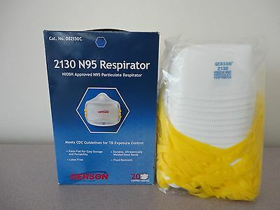 New Gerson 2130 N95 Smart-Mask Particle Respirator Mask, 20 Pack